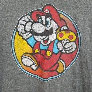 Mario XL Men's Graphic Tee, Gray